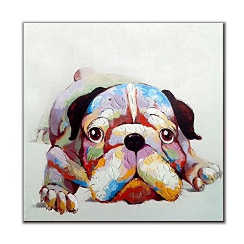 V-inspire Art,24x24 Inch Colorful Animal Painting Lazy Dog Paintings for Living Room Hand Painted Paintings Stretched Ready to Hang by V-inspire