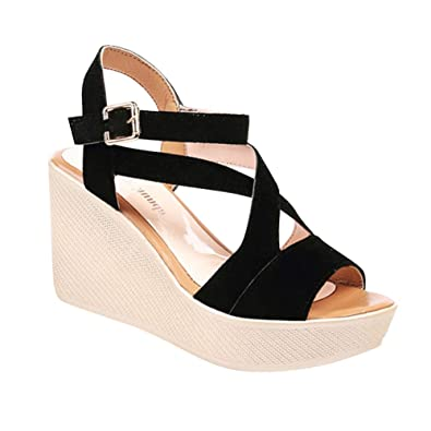 5196daa87d7 Gtagain Womens Shoes Gladiator Sandals Platform - Ladies Wedge Heel 8.5cm Peep  Toe Slingback Buckle Chunky Sole Charms Sexy Party Dress Shoes   Amazon.co.uk  ...