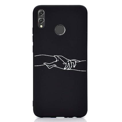 Rongecr Funda Negro con Huawei Honor 8X, Carcasa Silicona TPU Suave Ultra Delgado Flexible Antideslizante Patrón Noble Huawei Honor 8X Soft TPU Case, ...
