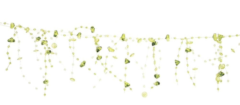 Club Pack of 12 Indoor Decorative Transparent Green Dangling Beaded Garlands 5'