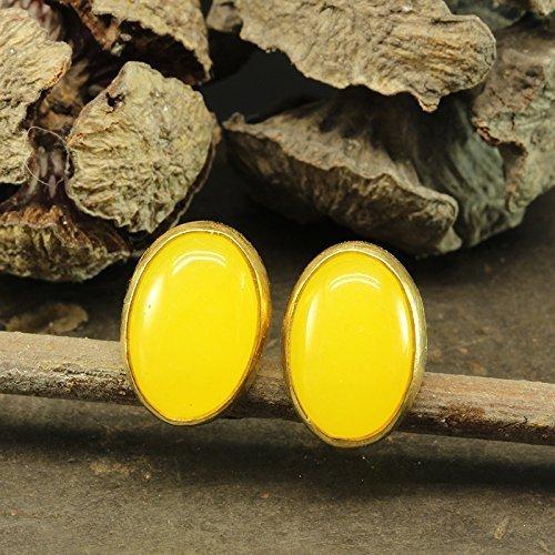 Natural Yellow Agate Carnelian Stud Earrings 925 Solid Sterling Silver 24K Yellow Gold Vermeil Roman Art Handcrafted Artisan Handmade Cabochon Gemstone Earrings