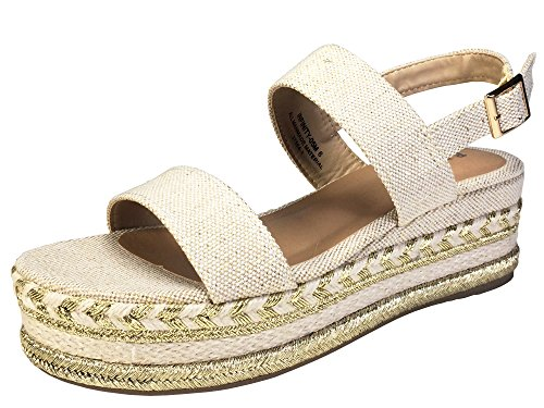 BAMBOO Women's Single Band Espadrilles Platform Sandal with Ankle Strap, Natural Canvas, 7.5 B (M) ()
