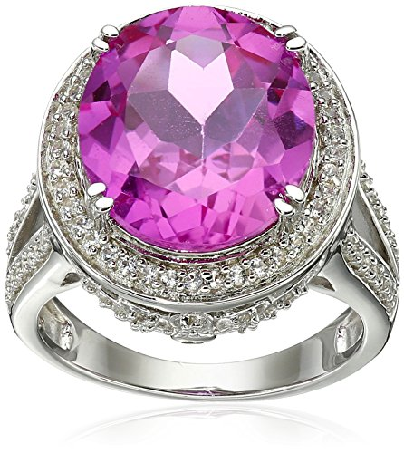 Sterling Silver Oval Shape Created Pink Sapphire with Round Created White Sapphire Cocktail Ring