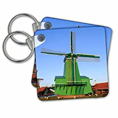 "Famous windmills of zaanse schans, Amsterdam, Holland key Chain is available in sets of 2, 4 and 6; making them perfect for sharing. Image is printed on both sides and has a high gloss finish. Measures 2 3/8"" x 2 3/8"" x 3/8"" and are made of h..."