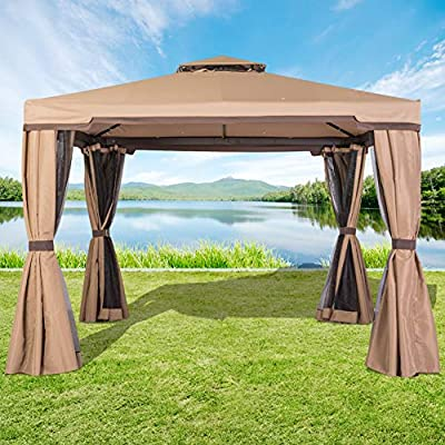 Incbruce Outdoor Fabric/Steel Canopy Tent 10x10 Gazebo for Patios, Vented Polyester Fabric Gazebo with Mosquito Netting - Beige