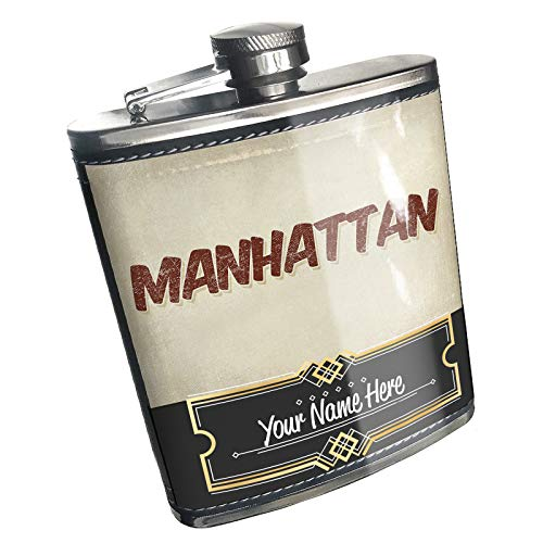 Neonblond Flask Manhattan Cocktail, Vintage style Custom Name Stainless Steel
