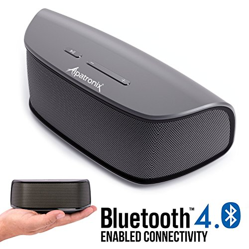 Bluetooth Speaker, Alpatronix AX420 10W Ultra Portable Compact Wireless HD Stereo w/Built-in Mic, Subwoofer, Volume/Playback Controls for Smartphones, Tablets & Computers, Indoor & Outdoor - Grey