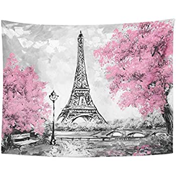 Emvency Tapestry Oil Painting Paris European City Landscape France Eiffel Tower Home Decor Wall Hanging for Living Room Bedroom Dorm 60x80 Inches