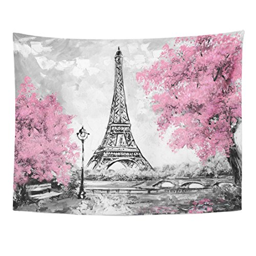 Emvency Tapestry Oil Painting Paris European City Landscape France Eiffel Tower Home Decor Wall Hanging for Living Room Bedroom Dorm 60x80 Inches ()
