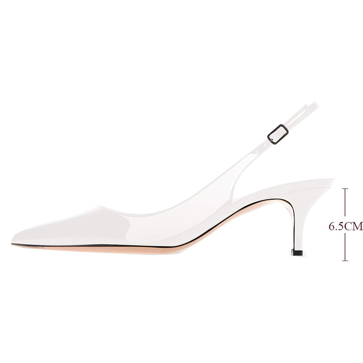 163ff63e306 Lovirs Womens White Slingback Ankle Strap Sandals Stiletto Mid-Heel Pointy  Toe Pumps Shoes for Party Dress 12 M US