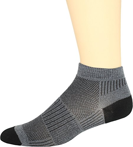 WrightSock Men's Coolmesh II Lo Single Pack Socks, Grey, Sock Size:10-13/Shoe Size: 6-12