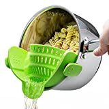Silicone Snap Strainer with 2 Clip for Spaghetti Veggies Pasta Ground Meat Drainer and More for Pots Pans Even with a lip,Made by FDA Approved, Heat Resistant Silicone(Green)