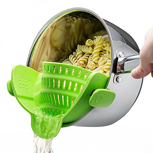 Silicone Snap Strainer with 2 Clip for Spaghetti Veggies Pasta Ground Meat Drainer and More for Pots Pans Even with a lip,Made by FDA Approved, Heat Resistant Silicone(Green) by Donice