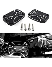 Three T Pair Motorcycle CNC Brake Master Clutch Cylinder Covers Cap Left & Right Side Fit for Harley Electra Road Glide Street 2007-2010, Harley FLH FLHX FLHX 2008-2017, Black