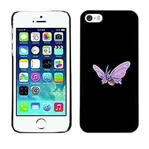 A-type Arte & diseño plástico duro Fundas Cover Cubre Hard Case Cover para iPhone 5 / 5S (Meter Monstruo púrpura de la mariposa)