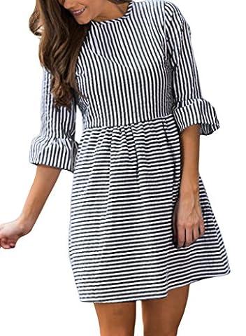 HOTAPEI Women's Casual Summer 3/4 Sleeve Fit and Flare Mini Dress Sundresses Black Striped Medium - Flare Mini Dress
