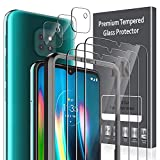 LK [6 Pack] 3 Pack Screen Protector with 3 Pack Camera Lens Protector for Motorola Moto G9 Play Tempered Glass [Easy Frame Installation] 9H hardness, Anti-Scratch, Case Friendly