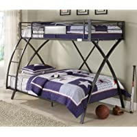 Homelegance Spaced Out Metal Twin Over Full Futuristic X-Frame Bunk Bed, Grey