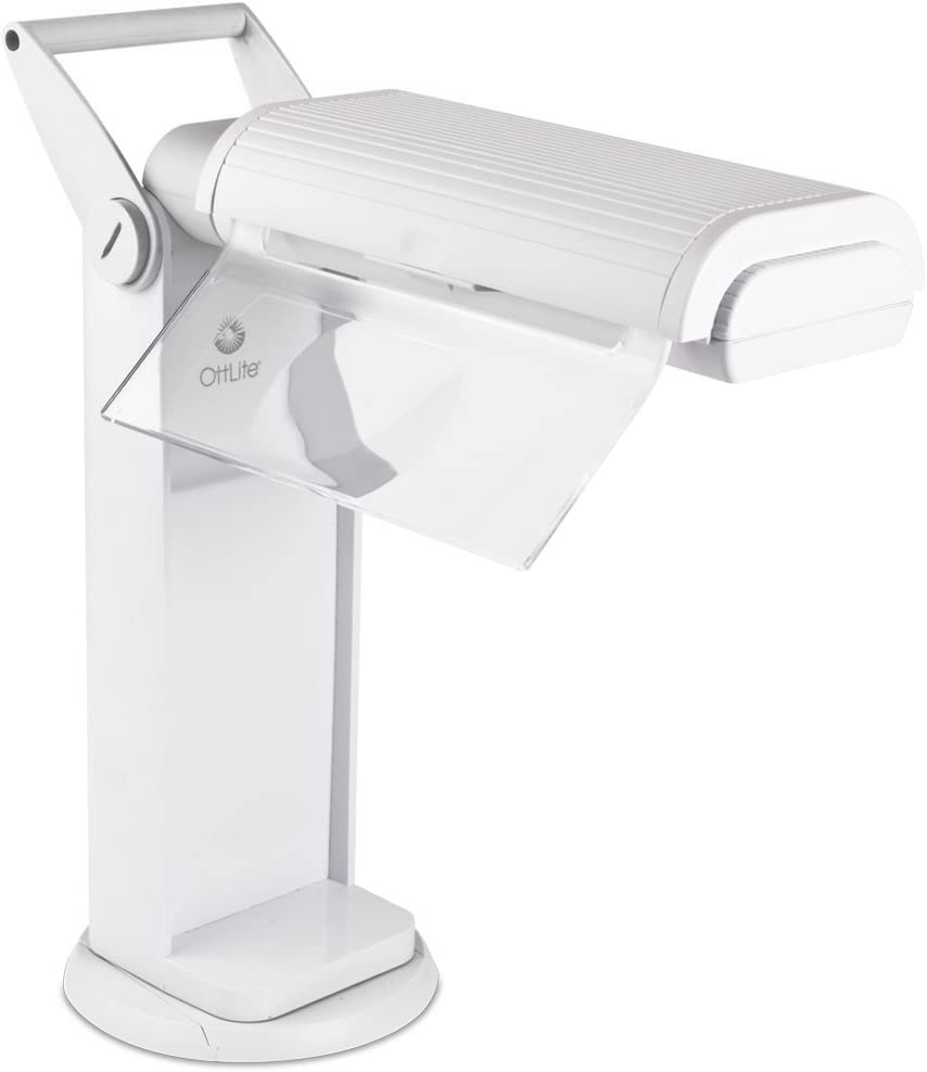 OttLite 13 Watt Magnifier Task Lamp with 2X Magnification and Swivel Base, White
