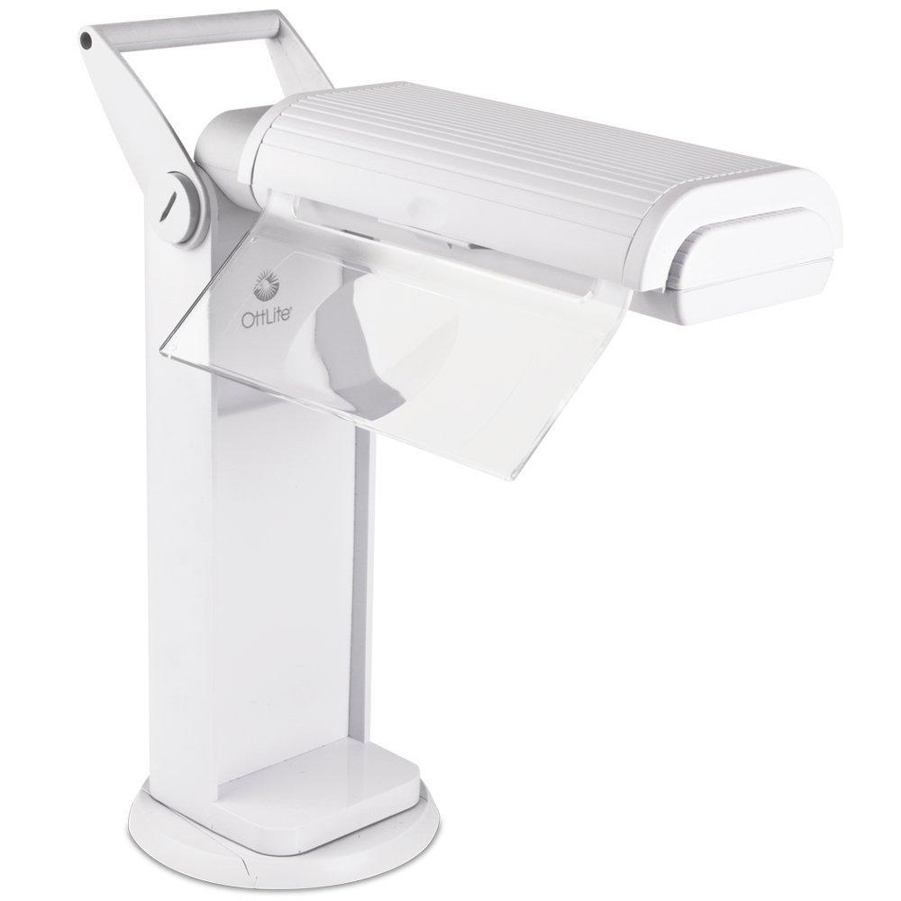 OttLite 13 Watt Magnifier Task Lamp | Desk Lamp, Shop Light, Workbench Lamp | 2X Magnifier, Portable, 360 Degree Swivel Base | Great for Home, Office, Workshop, Craft Room (White)