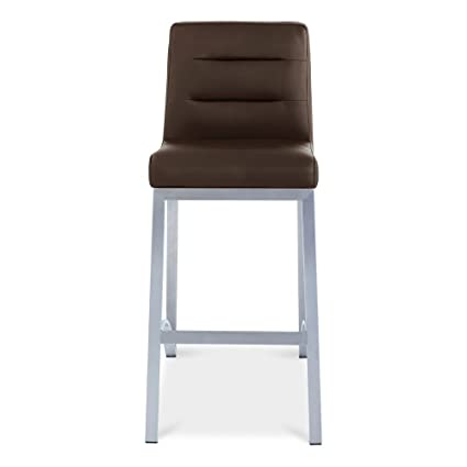 Zuri Furniture Lynx Counter Height Contemporary Bar Stool With Metal Base    Brown