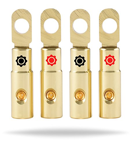 Ring Gold Wire (InstallGear 10 AWG Gauge Gold Ring Set Screw Battery Ring Terminals (4 Pack))