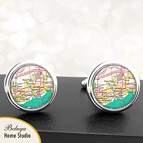 Long Island Babylon New York Antique Map Cufflinks Handmade City Cuff Links State of New York -