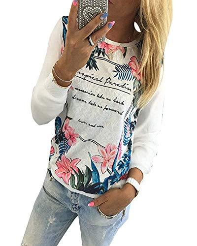 Casual T imprimé moyenne longues blanc à taille Chic couleur avec manches floral Zhrui shirt dUaRdEq