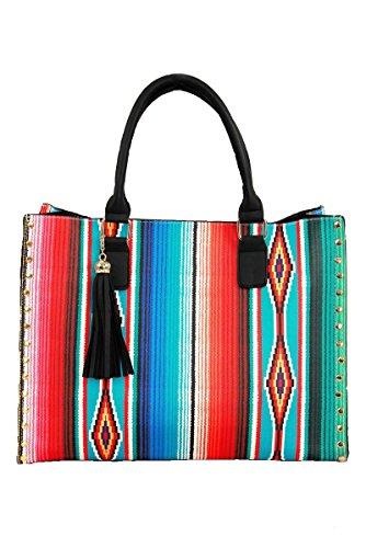 (NGIL Western Southwest Serape Faux Leather 2 in 1 Studded Satchel Handbag Tassel)