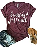MNLYBABY Happy Fall Y'all Thanksgiving T-Shirt Women's Short Sleeve V Neck Casual Top Tees Size XL (Wine Red)