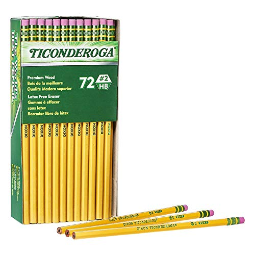 Ticonderoga Wood-Cased Graphite Pencils, 2 HB Soft, With Eraser, Yellow, 72 Count (33904) 4 Pack by Dixon (Image #1)