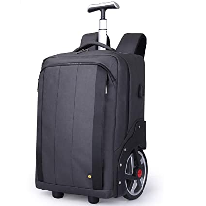Travel Wheeled Laptop Backpack for Women Men METTE Rolling Backpack with USB Interface Trolley Luggage Suitcase Compact Business Bag School Computer Bag,Black