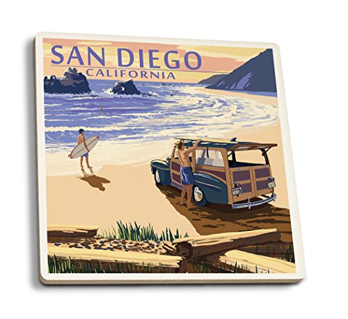 San Diego, California - Woody on Beach (Set of 4 Ceramic Coasters - Cork-backed, Absorbent) San Diego Coasters
