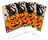Halloween Kitchen Towels - Pack of 4 100% Cotton Dish Towels (Cat on 2 Pumpkins)