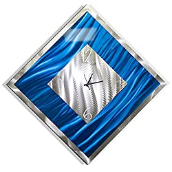 Statements2000 Square Blue & Silver Abstract Metal Wall Clock - Metallic Functional Metal Wall Art Accent Time-Keeper - Blue Ice by Jon Allen - 33-inch