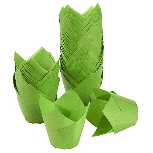 Tulip Cupcake Liners, 150 Pack, Medium - Baking Cups - Muffin Wrappers - Perfect for Bakeries, Catering, Restaurants, Green ()