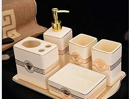 Set accessori bagno pezzi ceramica portasapone kit dispenser