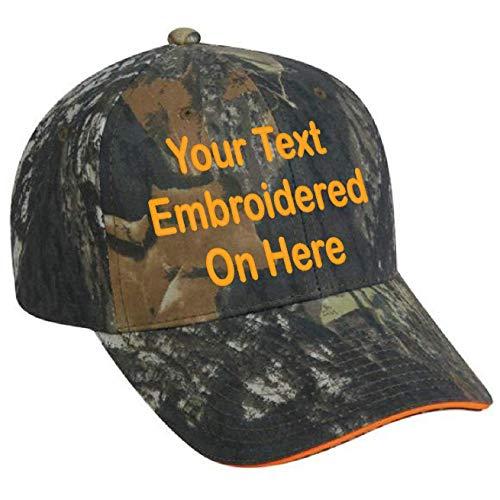 Custom Hat, Embroidered. Your Own Text. Adjustable Back. Curved Bill (Mossy Oak Break Up/Blaze Orange)