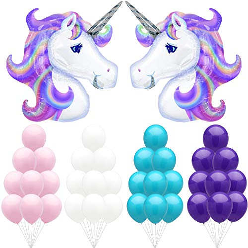 Large Unicorn Party Balloons Kit – Pack of 40, Light Pink, Purple, White and Turquoise Latex Balloons   Great for Birthdays, Baby Bridal Shower Backdrop, Home Office Décor   Colorful and Vibrant