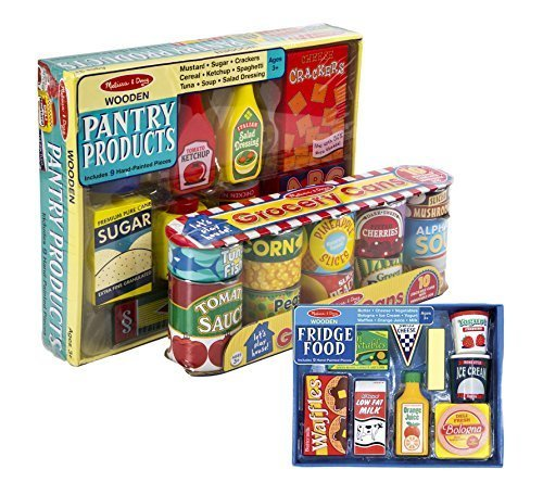 (Melissa & Doug Fridge Food Set with Grocery Cans and Pantry Products)