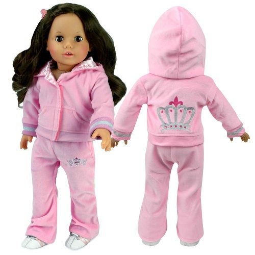 2 Pc My Dolls Life My Doll/'s Life Sophia/'s SH-PWB3-LP-DOLL Set Fits American Girl Dolls /& More Stylish Doll Sweatsuit Sophias Doll Clothing for 18 Inch Doll Clothes Outfit Play set of Sweatsuit with Crown Details