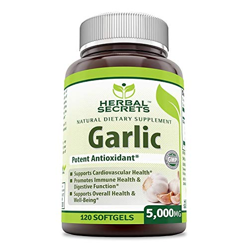 Herbal Secrets Garlic 5000 Mg 120 Softgels (Non-GMO)- Potent Antioxidant*- Supports Cardiovascular Health, Immune and Digestive Function, Supports Overall Health and Well Being* (Best Quality Garlic Supplements)