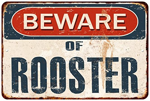 Distressed Metal Sign - Great American Memories Beware of Rooster Rustic Distressed Look Matte Finish Metal Sign Wall Decore 8x12 M81201772