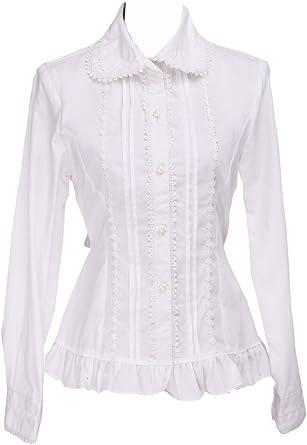 Blanca Algodón Volantes Encaje Classical Victoriana Kawaii Lolita Camisa Blusa de Mujer: Amazon.es: Ropa y accesorios