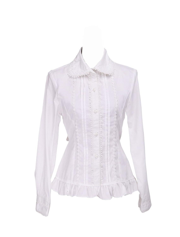 Victorian Blouses, Tops, Shirts, Vests White Cotton Lapel Lace Ruffle Back Bow Retro Victorian Lolita Shirt Blouse  AT vintagedancer.com
