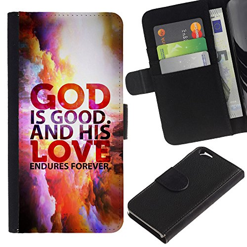 EuroCase - Apple Iphone 6 4.7 - GOD IS GOOD AND HIS LOVE ENDURES FOREVER - Cuir PU Coverture Shell Armure Coque Coq Cas Etui Housse Case Cover