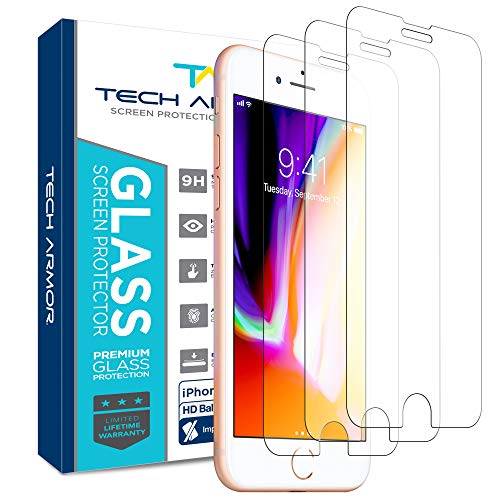Tech Armor Ballistic Glass Screen Protector for Apple iPhone 7, iPhone 6, iPhone 8 [3-Pack]