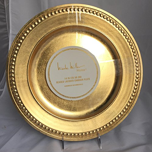 """Set of 4 Cynthia Rowley Metallic Gold Beaded Gilt Round Large 14"""" Charger Plates from Cynthia Rowley"""