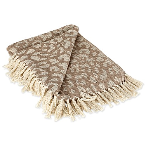 DII CAMZ38920 Modern Cotton Luxury Leopard Print Blanket Throw with Fringe for Chair, Couch, Picnic, Camping, Beach, Everyday, 50 x 60, White