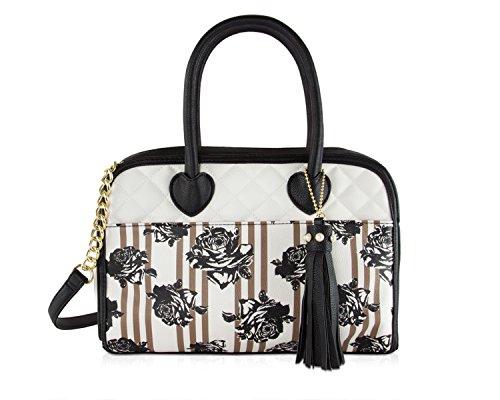 - Betsey Johnson Be Mine Stripe Tab Tassel Satchel Bag - Floral